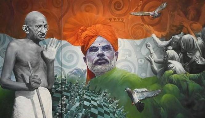 மகாத்மா காந்தியுடன், மோடி இருக்கும் ஓவியம் ரூ. 25 லட்சத்திற்கு ஏலம்.!