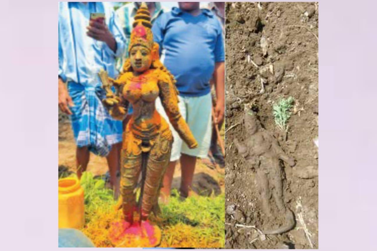 விவசாய நிலத்தில் கை உடைந்த நிலையில் ஐம்போன் சிலை கண்டெப்பு..!