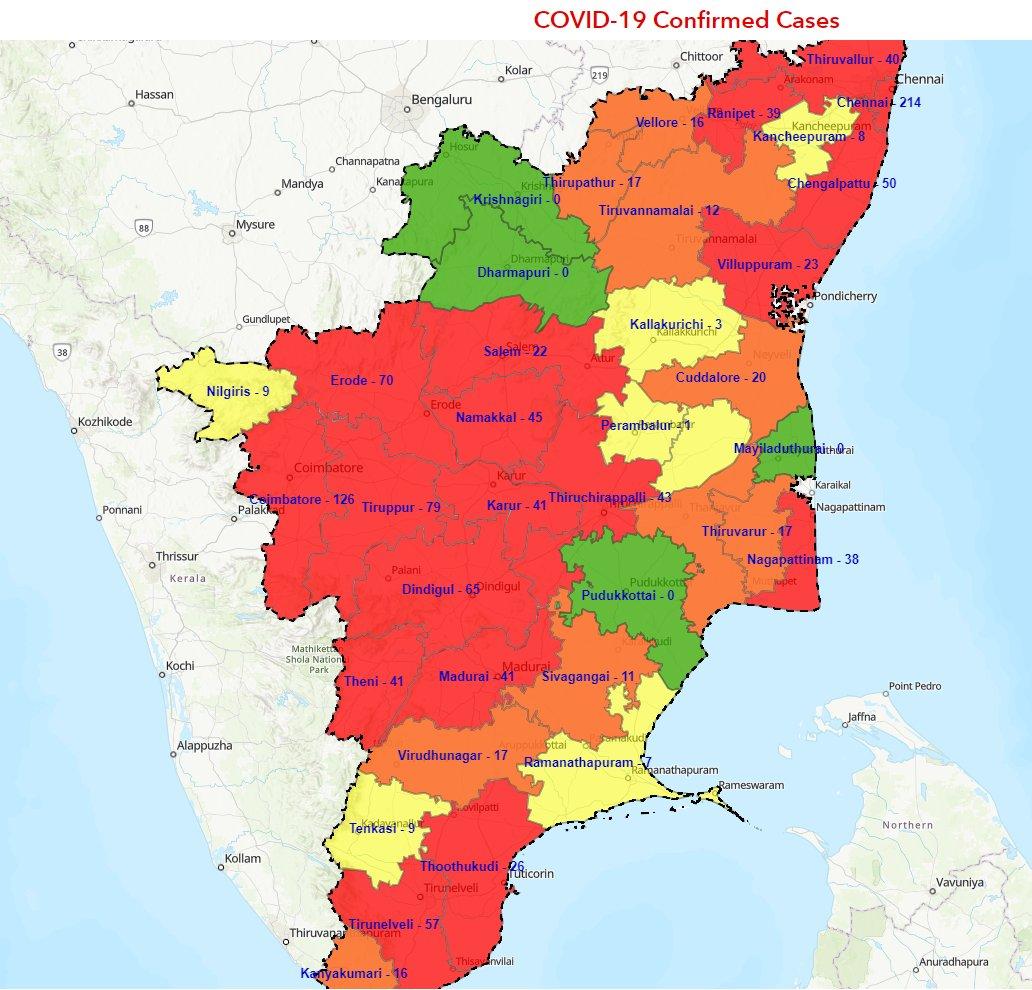 கொரோனா வைரஸ் தொற்று : தமிழகத்தில் அதிக பாதிப்புக்குள்ளான 'ஹாட்ஸ்பாட்' மாவட்டங்களின் பட்டியல்..!