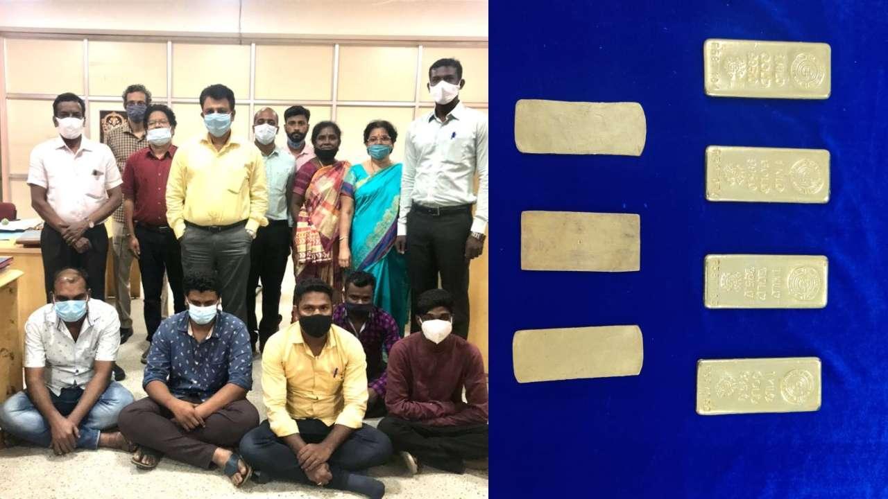 சென்னை விமான நிலையத்தில் தங்கக் கடத்தல் முறியடிப்பு : ஒப்பந்த தொழிலாளர்கள் உட்பட 5 பேர் கைது.!.!