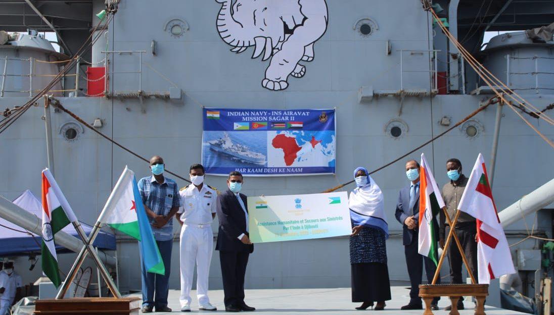 மிஷன் சாகர் : உணவுப் பொருட்களுடன் ஜைபூடி நாடு சென்றது ஐஎன்எஸ் ஐராவத் போர்க்கப்பல்