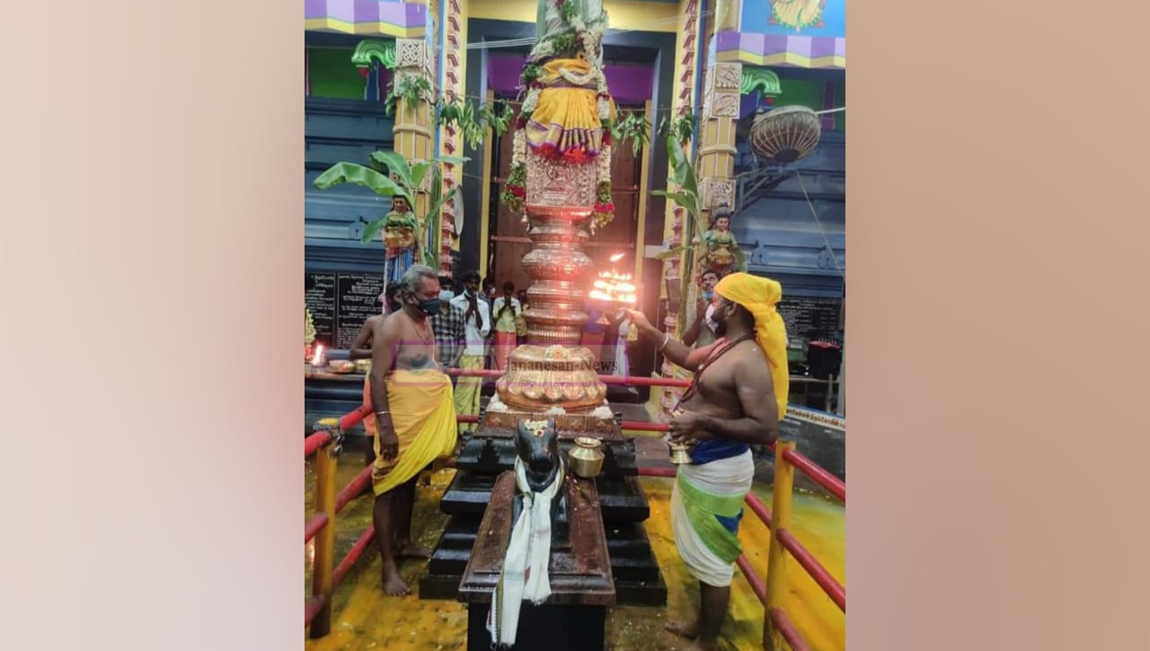 சோழவந்தான் ஜெனகை மாரியம்மன் கோவில் வைகாசி பெருந்திருவிழா பொதுமக்கள் பக்தர்கள் இன்றி கொடியேற்றம்
